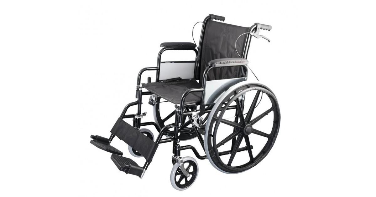 Οικονομικό αναπηρικό αμαξίδιο με μεγάλους συμπαγείς τροχούς -Αναπηρικά αμαξίδια ενηλίκων απλού τύπου